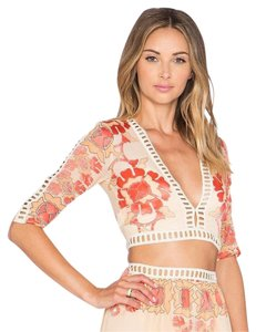 For Love & Lemons Barcelona Crop Crop Silk Top Cream