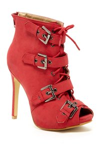 Chase & Chloe Orange Buckle Red Boots