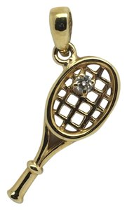 18K Yellow Gold Tennis Racket Diamond Pendant