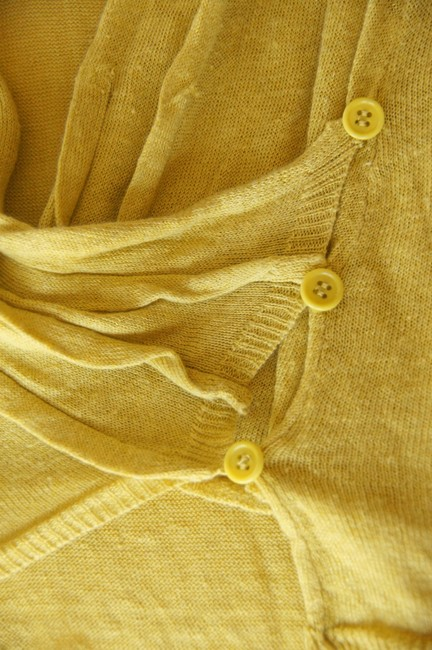 Anthropologie Draped Linen Sweater Fall Spring Cowlneck Button Detail Flowy Short Sleeve Wrap Cardigan