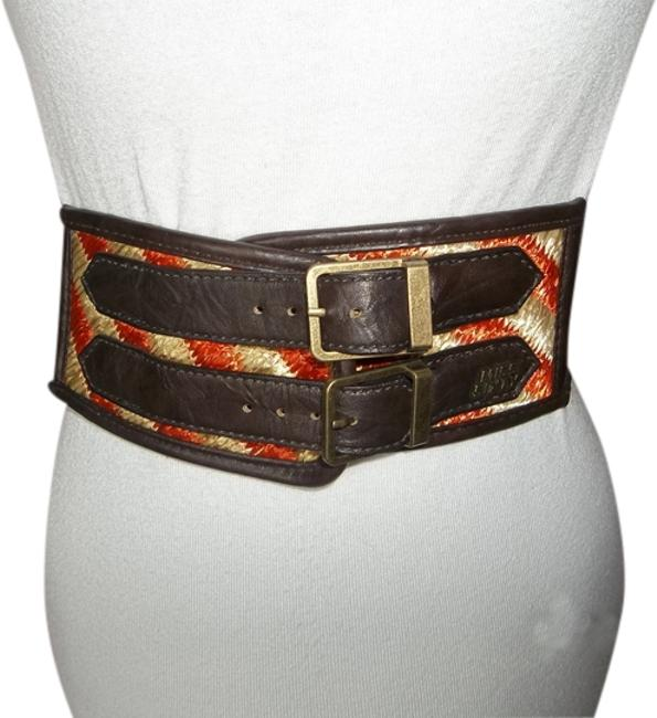 Item - Brown Elastic Double Buckles with Accent Of Orange and Tan Straw Belt
