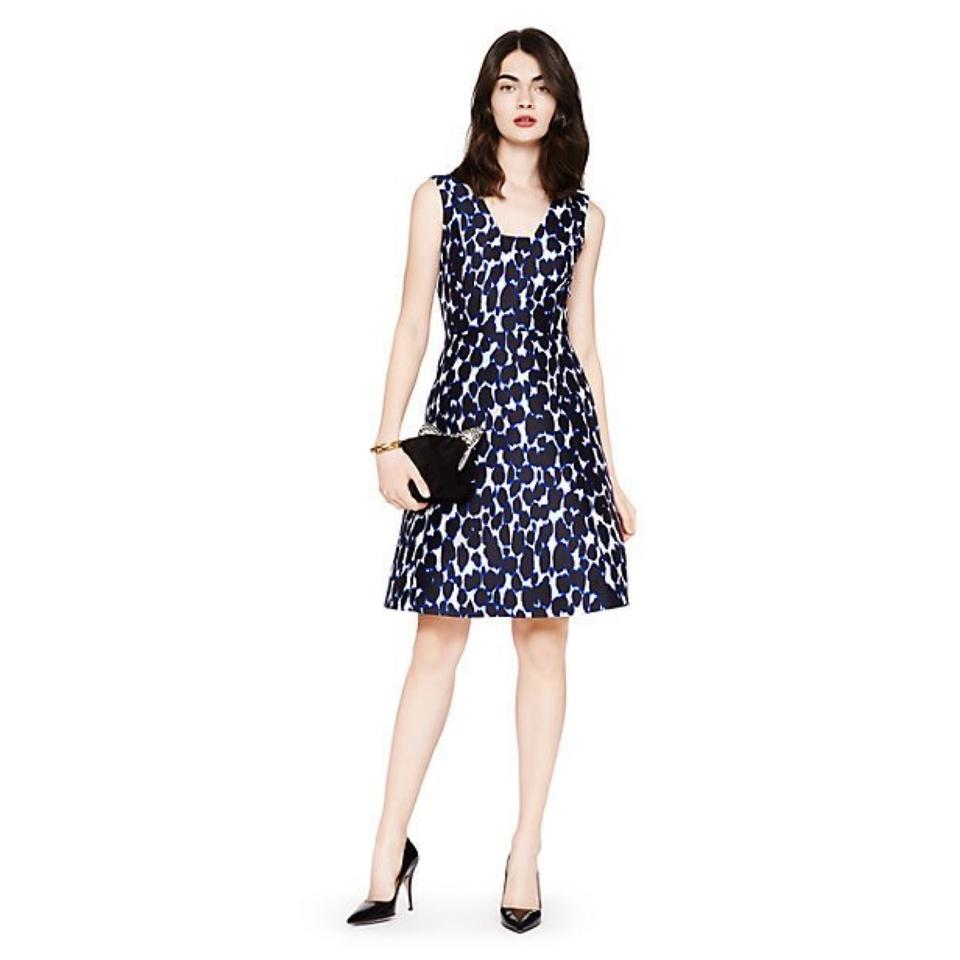 Kate Spade Black Purple White Leopard Fit and Flare Knee Length ...