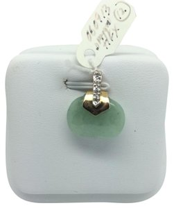 Other 14K Yellow Gold Natural Green Jade Pendant