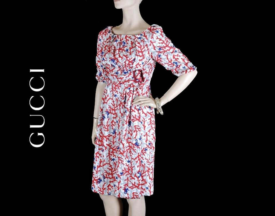 990ccbffe48 Gucci New White Silk with Coral Print Knee Length Cocktail Dress Size 6 (S)  - Tradesy