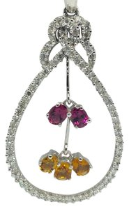 14K White Gold Natural Diamond and Pink and Yellow Topaz Pendant