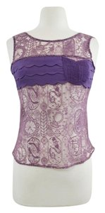 3 Sisters Anthropologie Unique Sleeveless Sheer Top Purple