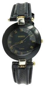Gucci * Gucci Black Leather Watch