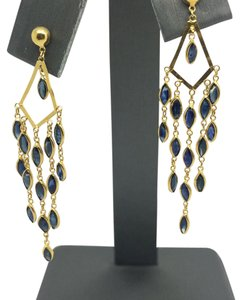 Other 14K Yellow Gold Chandelier Natural Sapphire Earrings