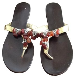 Beverly Feldman Dark brown and gold with jewels Sandals