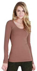 Nikibiki Long Sleeve Scoop Neck Top Taupe