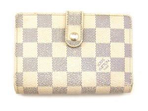 Louis Vuitton Damier Azur Canvas Leather French Clutch Snap Wallet w/ Tags