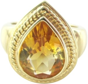 14K SOLID YELLOW GOLD PEAR RING CITRINE ENGAGEMENT COCKTAIL FINE JEWELRY JEWEL