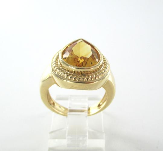 Other 14K SOLID YELLOW GOLD PEAR RING CITRINE ENGAGEMENT COCKTAIL FINE JEWELRY JEWEL