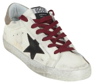 Golden Goose Deluxe Brand Distressed Red Laces Cream Athletic