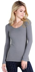 Nikibiki Long Sleeve Scoop Neck Seamless Gray Top Stormy Gray