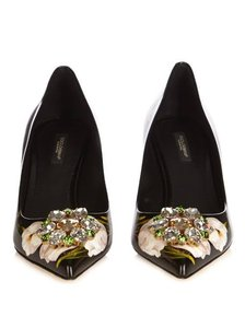 Dolce&Gabbana Floral Embellished Opulent Black and Multi Pumps