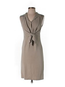 Gianfranco Ferre Silk Tie Sleeveless Shift Dress