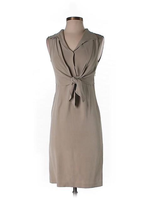 Item - Grey Silk Knotted Shift Knee Length Work/Office Dress Size 2 (XS)