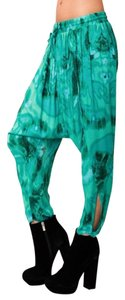 One Teaspoon Tie Dye Rayon Emerald Leggings