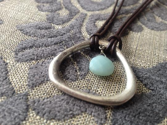 Kenneth Cole Teardrop with semi precious stone and leather necklace