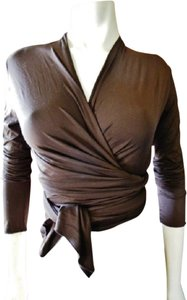 Carilyn Vaile Wrap Tops Tie Waist Sleeve Stretch Fabric Top Dark Brown