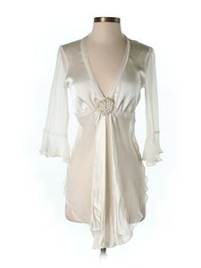 Other Silk Chiffon Cropped Tie Embellished Top Ivory