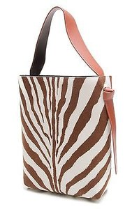 Céline Zebra Print Felt Calfskin Oversized Twisted Cabas Satchel in Rust, brown, ivory