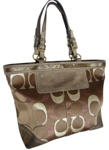 Coach Tote in Multi-Brown, Gold, Pink and Tan