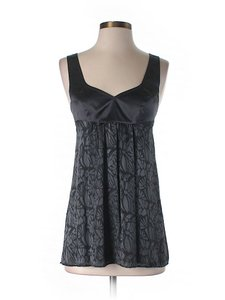 Rebecca Taylor Silk Print Sweetheart Top Black