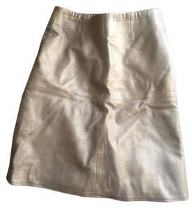 Barneys Co-Op Leather Office Skirt Gold