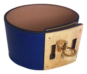Herms Kelly Dog Blue Sapphire GHW Leather Bracelet