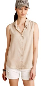 Anthropologie Lyocell Button Down Shirt BEIGE
