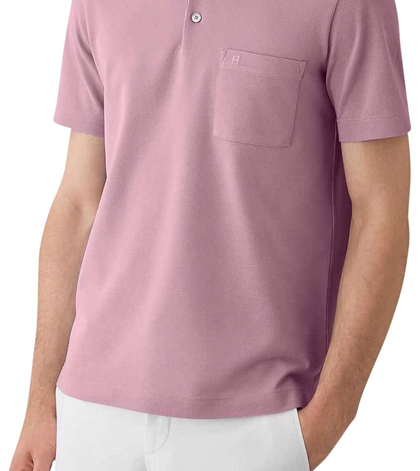 Herms Pink Mens Polo Tee Shirt Size 14 L Tradesy