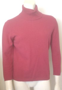 Ann Taylor Red Berry Long Sleeve Turtleneck Cashmere Sweater