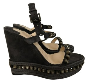 Christian Louboutin Suede Dark Gray Wedges