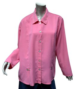 Norm Thompson Tencel Pleats Loose Fitting Tunic Artsy Button Down Shirt Pink