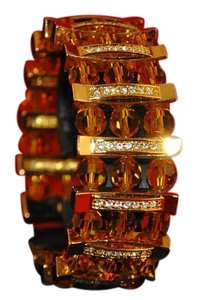 Joan Rivers J34761 Designer Amber Color Beads & Gold & Crystal Bars Bracelet NEW
