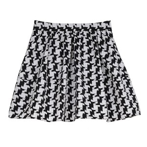 Express Hooundstooth Plaid Pleated Mini Skirt Black/White