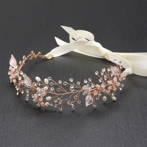 Mariell Bridal Headband With Hand Painted Rose Gold And Silver Leaves 4384hb-i-rg