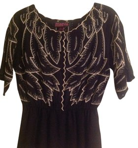 Anthropologie Embroidered Empire Waist Top Black, cream embroidery