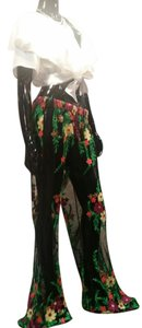 Beulah Lace Lace Embroidered Coverup Flare Pants Black