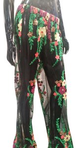 Beulah Lace Embroidered Coverup Flare Pants Black