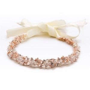 Mariell Slender Rose Gold Bridal Headband With Hand-wired Crystal Clusters And Ivory Ribbon