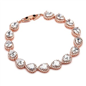 Mariell Cz Pear And Round Bridal Or Bridesmaids Rose Gold Bracelet 4562b-rg