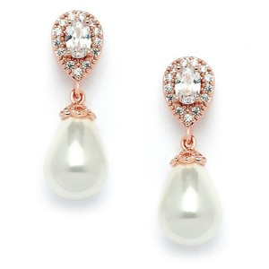 Mariell Rose Gold Cz Pear with Soft Cream Pearl Drops 4516e-i-rg Earrings