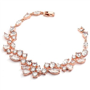 Mariell Rose Gold Mosaic Shaped Cz Wedding Bracelet In 14k Rose Gold Plating 4129b-rg-7