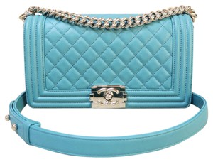 Chanel Old Medium Le Boy Blue Calfskin Shoulder Bag