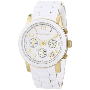 Michael Kors Michael Kors (MK-5145) Runway Chronograph Watch (White and Gold)