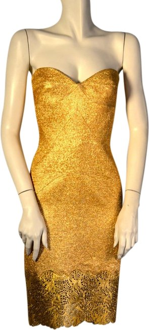 Item - Gold Raffia with Leather Lace Hem Knee Length Cocktail Dress Size 4 (S)