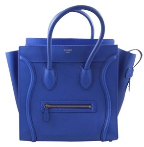 Céline Leather Mini Luggage Tote in Royal Blue